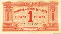 1 Franc FRANCE régionalisme et divers AGEN 1917 JP.002.14 TTB à SUP