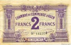2 Francs FRANCE régionalisme et divers AGEN 1917 JP.002.15 TTB à SUP
