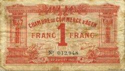 1 Franc FRANCE régionalisme et divers Agen 1922 JP.002.17 TB