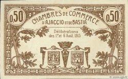 50 Centimes FRANCE régionalisme et divers Ajaccio et Bastia 1915 JP.003.03 TTB à SUP