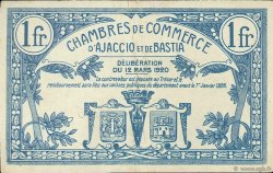 1 Franc FRANCE régionalisme et divers AJACCIO ET BASTIA 1920 JP.003.09 TTB à SUP