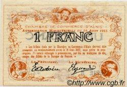 1 Franc FRANCE régionalisme et divers ALAIS   NOM ACTUEL :  ALÈS 1915 JP.004.05 TTB à SUP