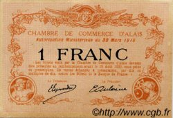 1 Franc FRANCE régionalisme et divers Alais. Nom Actuel : Alès 1916 JP.004.09 TTB à SUP