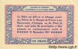 1 Franc FRANCE régionalisme et divers Alencon et Flers 1915 JP.006.04 SPL à NEUF