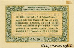 50 Centimes FRANCE régionalisme et divers ALENCON ET FLERS 1915 JP.006.16 TTB à SUP