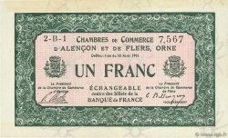 1 Franc FRANCE régionalisme et divers ALENCON ET FLERS 1915 JP.006.20 TTB à SUP