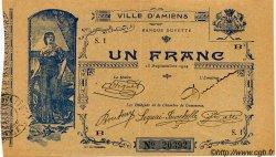 1 Franc FRANCE régionalisme et divers AMIENS 1914 JP.007.02 TTB à SUP