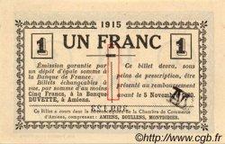 1 Franc FRANCE régionalisme et divers AMIENS 1915 JP.007.08 SPL à NEUF