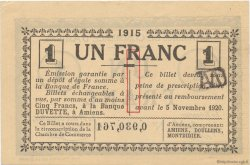 1 Franc FRANCE régionalisme et divers AMIENS 1915 JP.007.36 SPL à NEUF