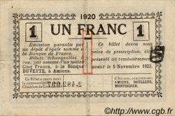 1 Franc FRANCE régionalisme et divers AMIENS 1920 JP.007.51 TTB à SUP