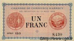 1 Franc FRANCE régionalisme et divers ANNECY 1915 JP.010.01 SPL à NEUF