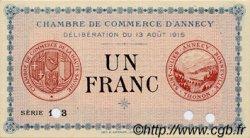 1 Franc FRANCE régionalisme et divers ANNECY 1915 JP.010.03 SPL à NEUF