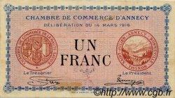 1 Franc FRANCE régionalisme et divers ANNECY 1916 JP.010.05 TTB à SUP