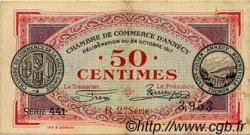 50 Centimes FRANCE régionalisme et divers Annecy 1917 JP.010.09 TTB à SUP