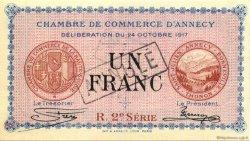 1 Franc FRANCE régionalisme et divers ANNECY 1917 JP.010.13 SPL à NEUF