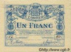 1 Franc FRANCE régionalisme et divers ANNONAY 1914 JP.011.04 SPL à NEUF