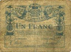 1 Franc FRANCE régionalisme et divers Annonay 1914 JP.011.04 TB
