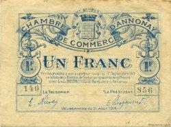 1 Franc FRANCE régionalisme et divers Annonay 1914 JP.011.08 TB