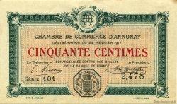 50 Centimes FRANCE régionalisme et divers ANNONAY 1917 JP.011.09 SPL à NEUF
