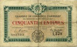 50 Centimes FRANCE régionalisme et divers ANNONAY 1917 JP.011.15 TB