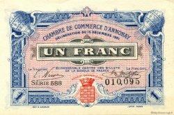 1 Franc FRANCE régionalisme et divers ANNONAY 1921 JP.011.24 SPL à NEUF