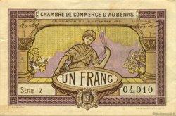 1 Franc FRANCE régionalisme et divers AUBENAS 1921 JP.014.02 TTB à SUP