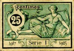 25 Centimes FRANCE régionalisme et divers AURILLAC 1917 JP.016.11 TTB à SUP