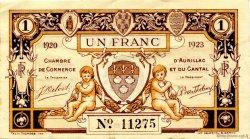 1 Franc FRANCE régionalisme et divers Aurillac 1920 JP.016.15 TTB à SUP