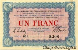 1 Franc FRANCE régionalisme et divers Auxerre 1915 JP.017.01 SPL à NEUF