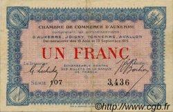 1 Franc FRANCE régionalisme et divers AUXERRE 1915 JP.017.01 TTB à SUP