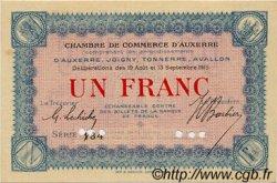 1 Franc FRANCE régionalisme et divers AUXERRE 1915 JP.017.03 SPL à NEUF