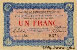 1 Franc FRANCE régionalisme et divers Auxerre 1916 JP.017.08 SPL à NEUF