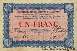 1 Franc FRANCE régionalisme et divers Auxerre 1916 JP.017.08 TTB à SUP