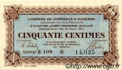 50 Centimes FRANCE régionalisme et divers Auxerre 1917 JP.017.14 SPL à NEUF