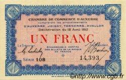 1 Franc FRANCE régionalisme et divers AUXERRE 1917 JP.017.17 SPL à NEUF
