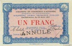 1 Franc FRANCE régionalisme et divers AUXERRE 1917 JP.017.18 SPL à NEUF