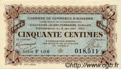 50 Centimes FRANCE régionalisme et divers AUXERRE 1920 JP.017.19 SPL à NEUF