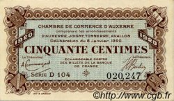 50 Centimes FRANCE régionalisme et divers AUXERRE 1920 JP.017.19 TTB à SUP