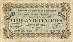 50 Centimes FRANCE régionalisme et divers AUXERRE 1920 JP.017.20