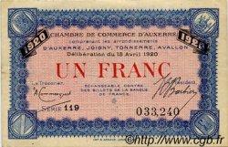 1 Franc FRANCE régionalisme et divers Auxerre 1920 JP.017.22 TTB à SUP