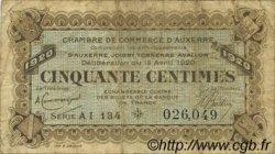 50 Centimes FRANCE régionalisme et divers Auxerre 1920 JP.017.25 TB