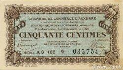 50 Centimes FRANCE régionalisme et divers Auxerre 1921 JP.017.28 SPL à NEUF