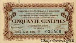 50 Centimes FRANCE régionalisme et divers Auxerre 1921 JP.017.28 TTB à SUP