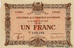 1 Franc FRANCE régionalisme et divers AVIGNON 1920 JP.018.24 TTB à SUP