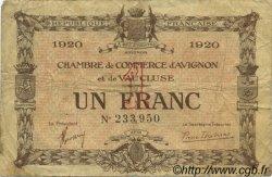 1 Franc FRANCE régionalisme et divers AVIGNON 1920 JP.018.24 TB