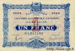 1 Franc FRANCE régionalisme et divers Avignon 1922 JP.018.29 TTB à SUP