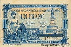 1 Franc FRANCE régionalisme et divers Basses-Alpes 1917 JP.020.02 TTB à SUP
