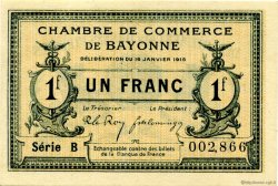 1 Franc FRANCE regionalism and various Bayonne 1915 JP.021.09 AU to UNC