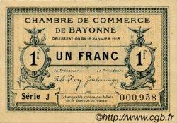 1 Franc FRANCE régionalisme et divers BAYONNE 1915 JP.021.09 TTB à SUP