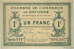 1 Franc FRANCE régionalisme et divers BAYONNE 1915 JP.021.15 TTB à SUP